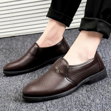 Men Soft Sole All-match Business Formal Wear Leather Peas Shoes