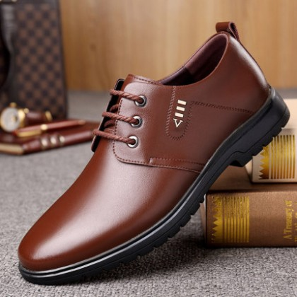 Men Soft Sole All-match Business Wedding Wear Leather Lace-up Shoes