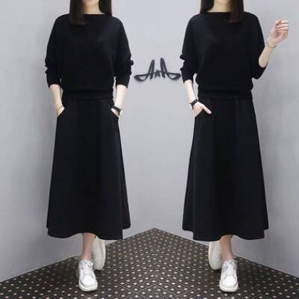 Women Clothing Long-sleeved Loose Fashion Two-piece Suit