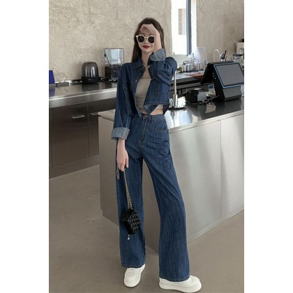 Women Clothing Western Style Thin Wide-leg Pants Two-piece Suit