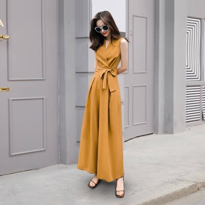 Women Clothing Loose Solid Color Wide Leg Pants Jumpsuit