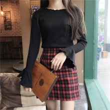 Women Slim Fit Knitted Trumpet Sleeve T