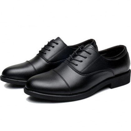 Men Office Casual and Student Lace-up Leather Black Shoes