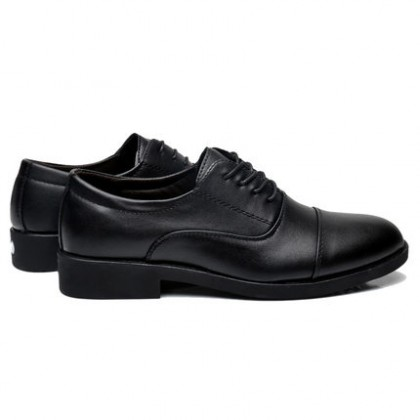 Men Round Head Business Casual Lace-up Leather Black Shoes