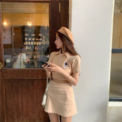 Women Clothing Western Fashion Short-sleeved Shirt and Hip Skirt Two-piece Suit