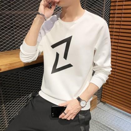 Men Clothing Long-sleeved Two Diagonal V Print Loose Sweater