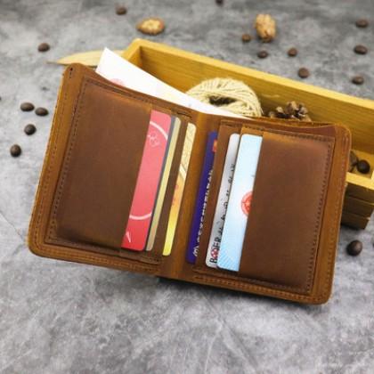 Men Retro Fashion Vertical Two-fold Wallet