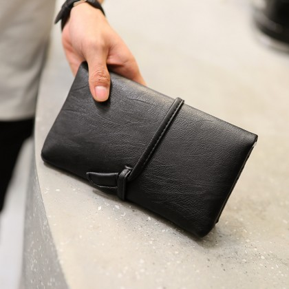 Men Retro Fashion Long Drawstring Wallet
