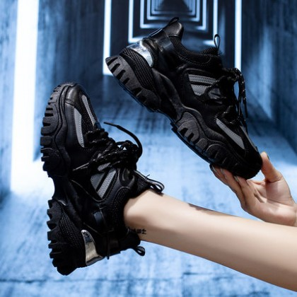Women All-match Black Casual Sports Lace-up Winter Shoes