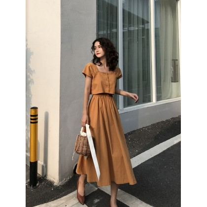 Women Clothing Summer New T-shirt Sexy Sling Dress Two-piece Suit