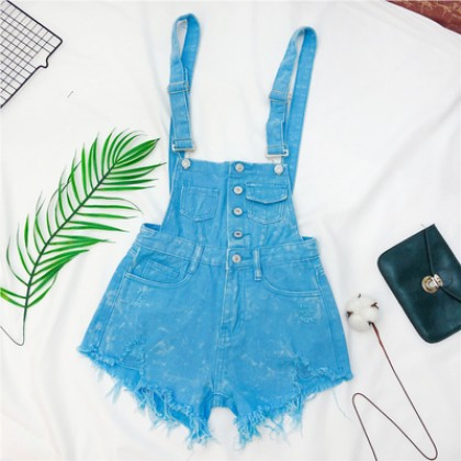 Women Clothing Loose Retro Hgh-waisted Denim Jumpsuit
