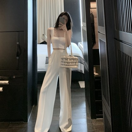 Women Clothing Small Vest + High Waist Casual Pants Two-piece Suit