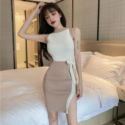 Women Clothing Hanging Neck Slim Knitted Hip Short Skirt Dress
