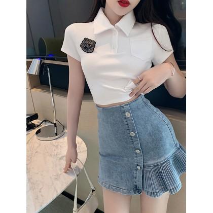 Women Clothing Short-sleeved T-shirt Sexy High Waist Hip Denim Skirt Two-piece Suit