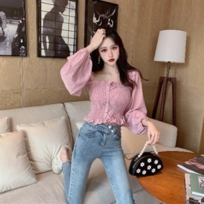 Women Clothing Short French Square Collar Blouse