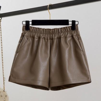 Women Clothing A-line Wide-legged High Waist Leather Shorts