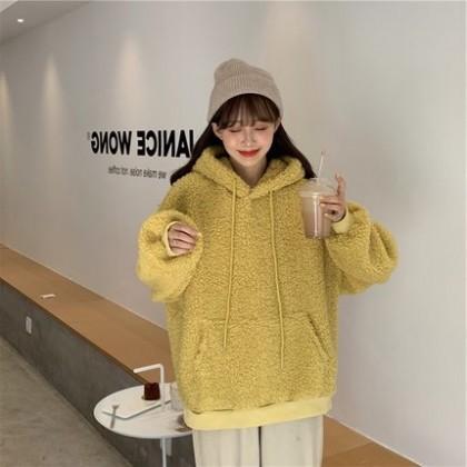 Women Clothing Plush Loose Korean Style Sweater