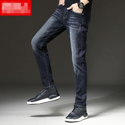 Men Clothing Straight Slim Fit Casual Denim Long Pants