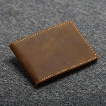 Men Handmade multi-function Ultra-thin Leather Card Case