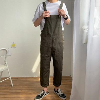 Men Clothing Loose Wide-leg One-piece Casual Suspenders Pants Jumpsuit