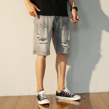 Men Clothing Casual Straight Loose Five-point Ripped Jeans Fashion Pants