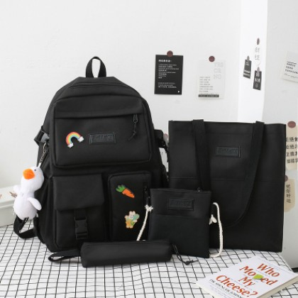 Women New College Student Backpack Free Tote Pencil Case and Shoulder Bag