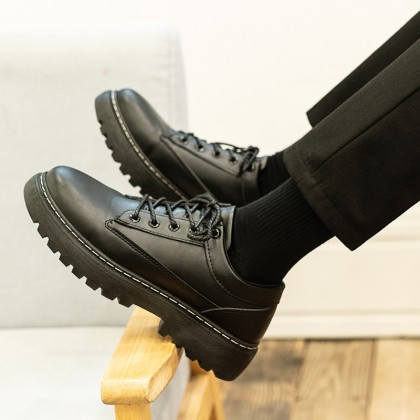 Men Lace-up Casual Youth British Black Leather Shoes