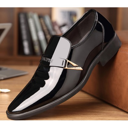 Men Soft-soled Business All-match Casual Patent Leather Shoes