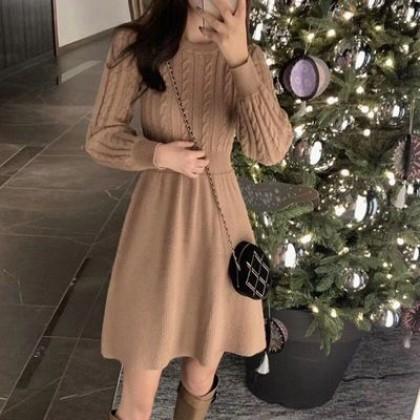 Women Clothing New Korean Version Waist Slimming Retro Sweater Skirt Dress
