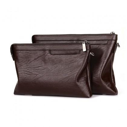 Men Portable Casual Double Zipper Long Wallet