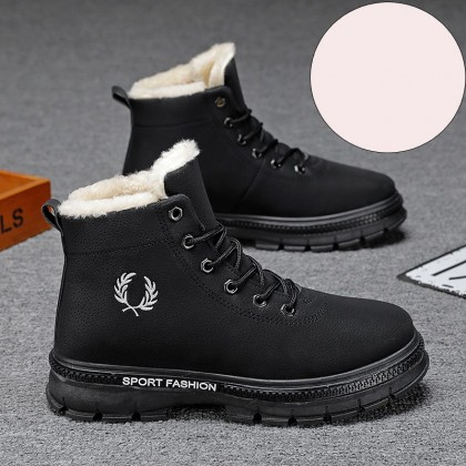 Men Mid-top Winter Warm Lace-up Boots