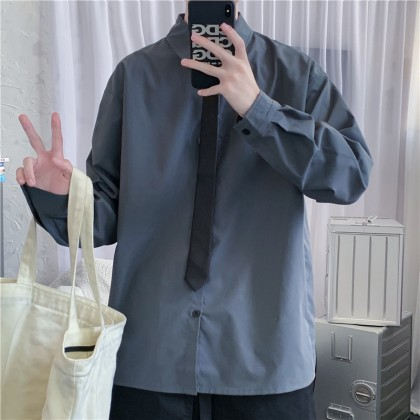 Men Clothing Pure Color Long-sleeved Loose Handsome Shirt