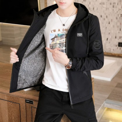 Men Clothing New Korean Style Slim Casual Hooded Solid Color Handsome Jacket