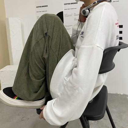 Men Clothing Japanese Retro Corduroy Loose Pants
