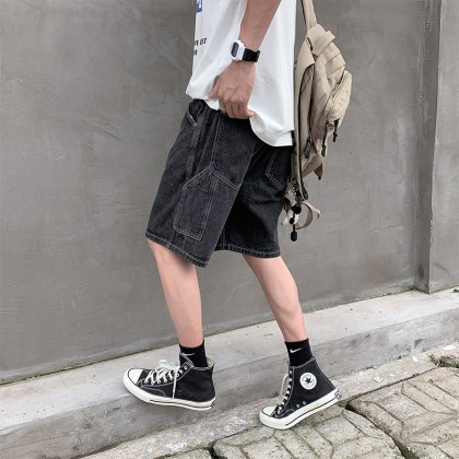 Men Clothing New Straight Loose Casual Hong Kong Style Five-point Pants