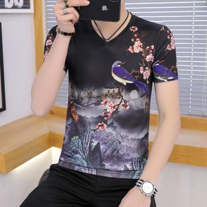 Men Clothing V-neck Top Ice Silk Ink Printing Short-sleeved T-shirt
