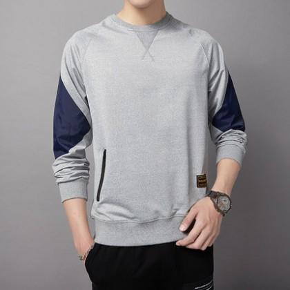 Men Clothing Round Neck Top Long-sleeved Shirt