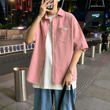 Men Clothing Hong Kong Style Summer Short-sleeved Loose Shirt