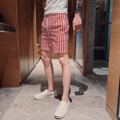 Men Clothing Summer Slim Straight Striped Five-point Beach Pants