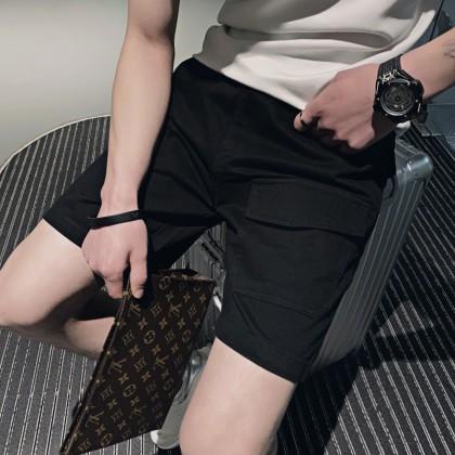 Men Clothing Casual Pants Social Solid Color Five-point Pants