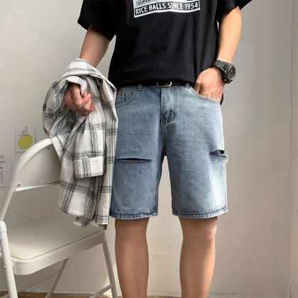 Men Clothing Five-point Hong Kong Style Ripped Washed Denim Pants