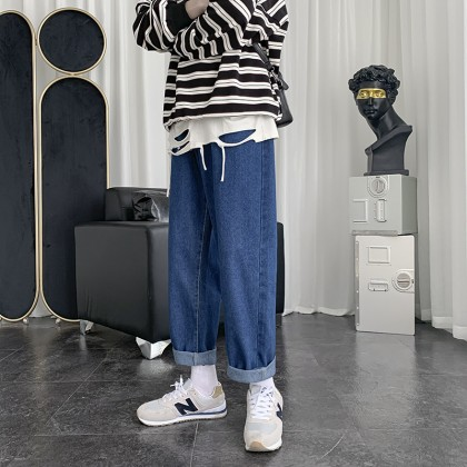 Men Clothing Casual All-match Nine-point Straight Loose Pants