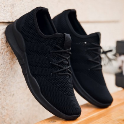 Men All black Mesh Spring Breathable All-match Sports Casual Shoes
