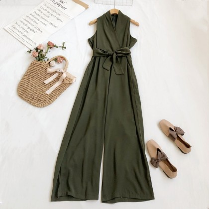 Women clothing V-neck loose and thin straps sleeveless high-waisted wide-leg jumpsuit