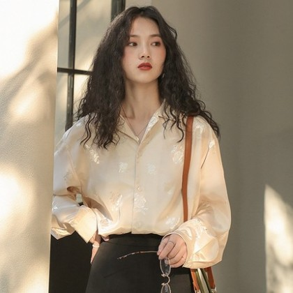 Women clothing new loose spring and autumn long-sleeved shirt