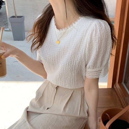Women clothing puff sleeve top summer new pleated white shirt