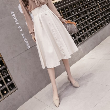 Women clothing high-waisted thin mid-length A-line umbrella skirt