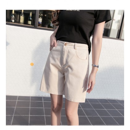 Women clothing loose straight five-point high waist and thin wide-leg pants