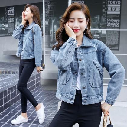 Women clothing spring new short Korean version loose small all-match denim jacket