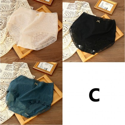 Women clothing breathable antibacterial silk crotch sexy lace non-curling panties